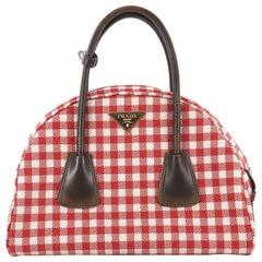 Prada Vichy Vintage Bowler Bag Jacquard Large