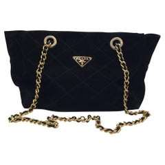 Prada  VIintage 1990 Black Suede  and gold metal chain  tote Bag