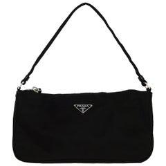 Prada Vintage Black Nylon Baguette Pochette Bag