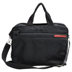Prada Vintage Black Nylon Bauletto Briefcase Bag