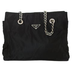 Prada Vintage Black Nylon Tote Bag w/Leather Laced Chain