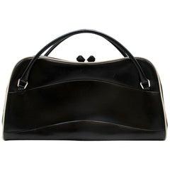 Prada Vintage Black Polished Leather Top Handle Bag