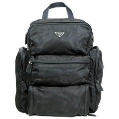 Prada Vintage Black Tessuto Nylon Multipocket Backpack Bag