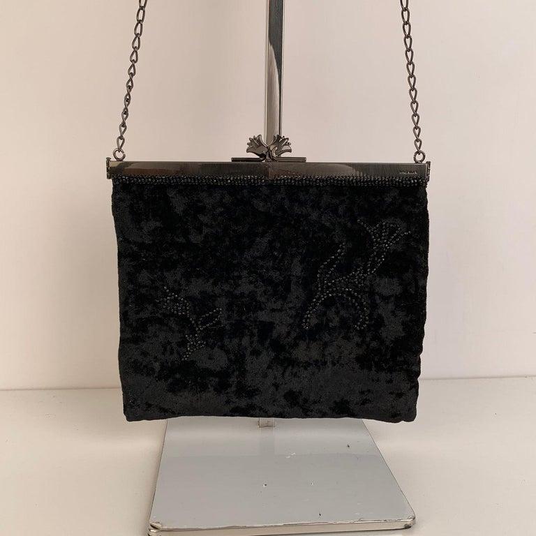 Prada Vintage Black Velvet Small Evening Bag Frame Shoulder Bag In Excellent Condition In Rome, Rome