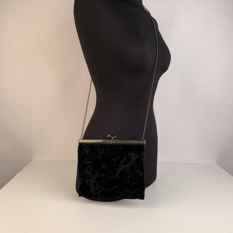 Women's Prada Vintage Black Velvet Small Evening Bag Frame Shoulder Bag