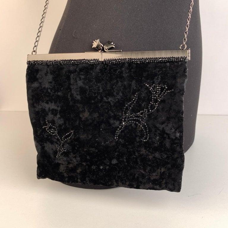 Prada Vintage Black Velvet Small Evening Bag Frame Shoulder Bag 1
