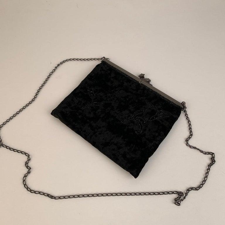 Prada Vintage Black Velvet Small Evening Bag Frame Shoulder Bag 2