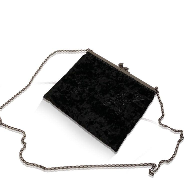 Prada Vintage Black Velvet Small Evening Bag Frame Shoulder Bag 3