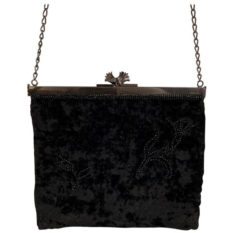 Prada Vintage Black Velvet Small Evening Bag Frame Shoulder Bag