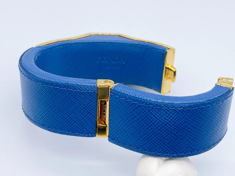Prada Vintage Blue Leather Cuff Bracelet Spring 2014 For Sale 6