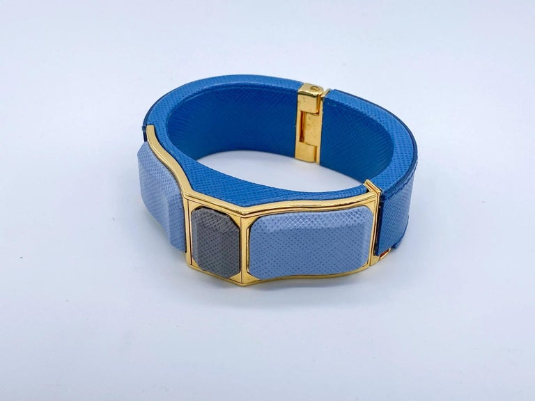 Women's Prada Vintage Blue Leather Cuff Bracelet Spring 2014 For Sale