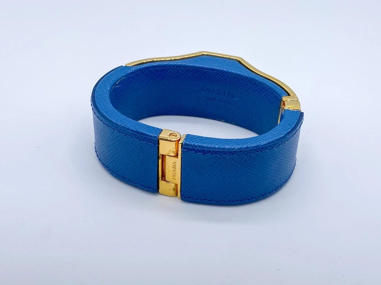 Prada Vintage Blue Leather Cuff Bracelet Spring 2014 For Sale 1