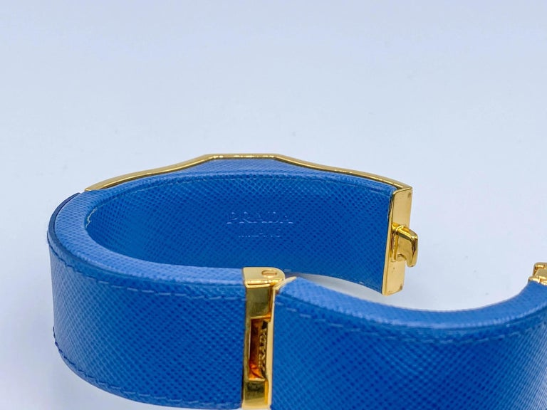 Prada Vintage Blue Leather Cuff Bracelet Spring 2014 For Sale 4