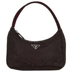 Prada Vintage Brown Nylon Mini Handbag