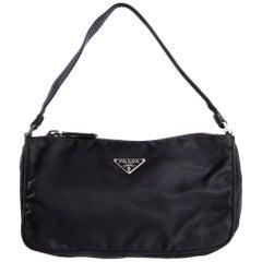Prada Vintage Dark Purple Nylon Zip Top Baguette Bag