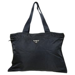 Prada Vintage Large Black Nylon Zip Top Flat Tote Bag
