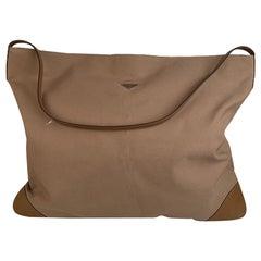 Prada Vintage Tan Canvas Large Travel Shoulder Bag VS0034