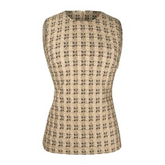 Prada Vintage Top Embroidered Brocade Nude Gold and Brown 40 / 4
