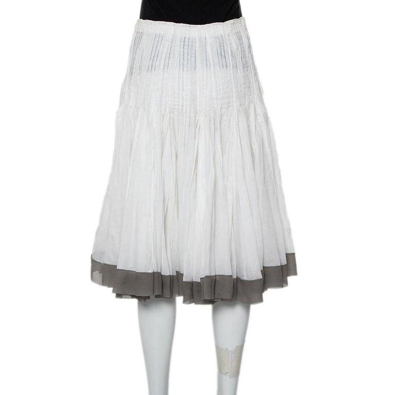 Gray Prada Vintage White Cotton Contrast Trim Pleated Midi Skirt S For Sale