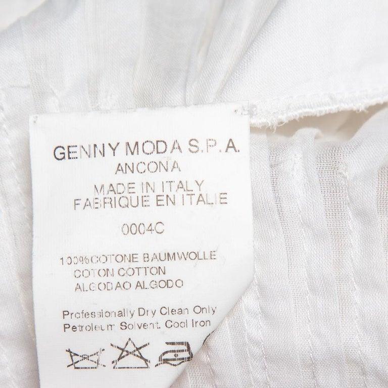 Women's Prada Vintage White Cotton Contrast Trim Pleated Midi Skirt S For Sale