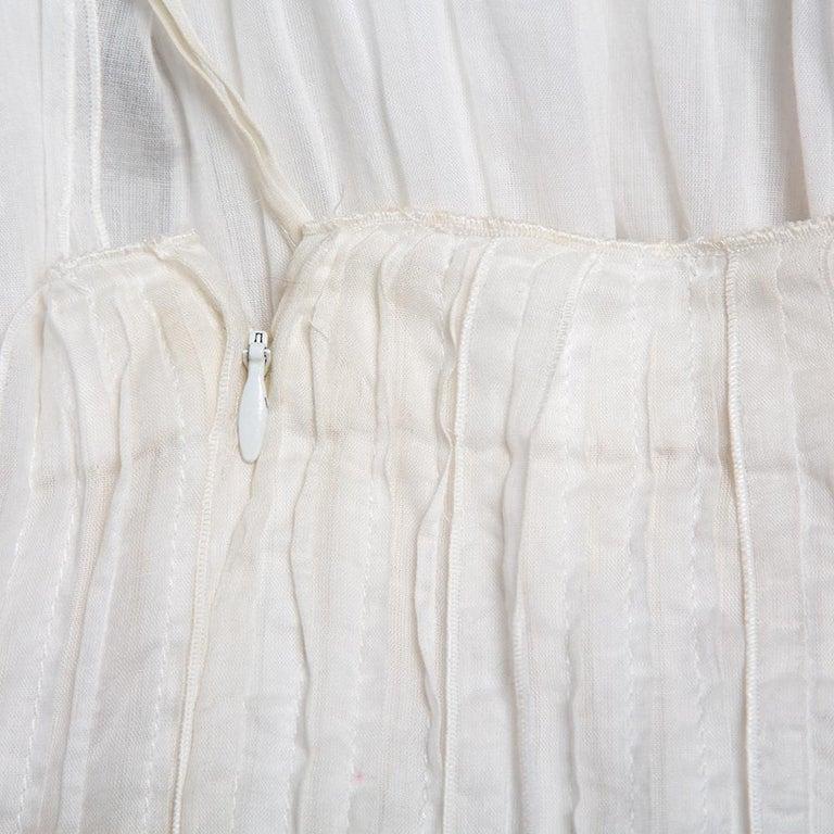 Prada Vintage White Cotton Contrast Trim Pleated Midi Skirt S For Sale 1