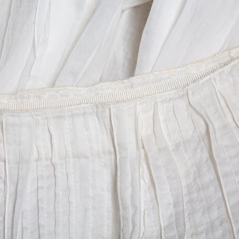 Prada Vintage White Cotton Contrast Trim Pleated Midi Skirt S For Sale 2