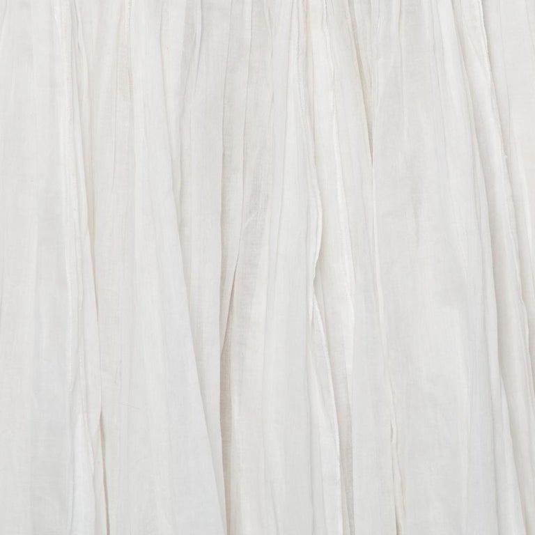 Prada Vintage White Cotton Contrast Trim Pleated Midi Skirt S For Sale 3