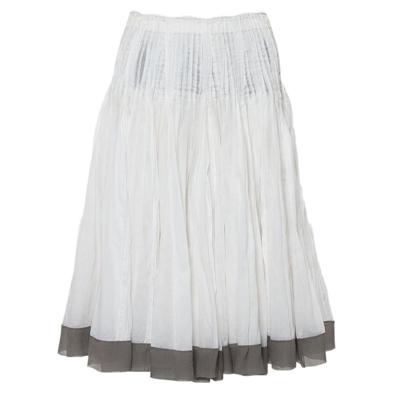 Prada Vintage White Cotton Contrast Trim Pleated Midi Skirt S For Sale