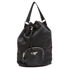 Prada Vintagre Black Nylon Duet Mini Bucket Bag