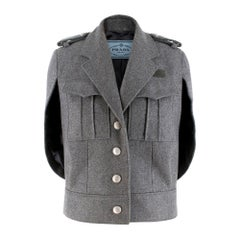 Prada Virgin Wool Single Breasted Wool Cape - New Season 36 UK4