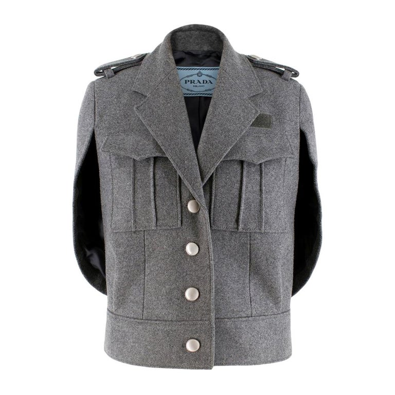 Prada Virgin Wool Single Breasted Wool Cape - New Season 36 UK4 For Sale
