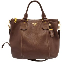Prada Vitello Daino Brown Shopper Satchel Handbag