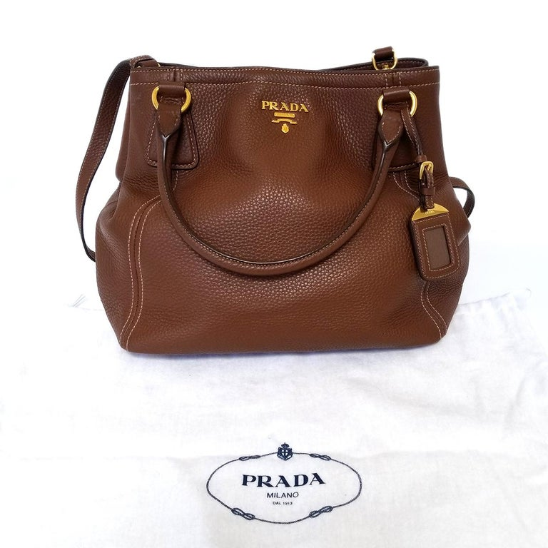 Women's Prada Vitello Daino Brown Solid Satchel Handbag For Sale