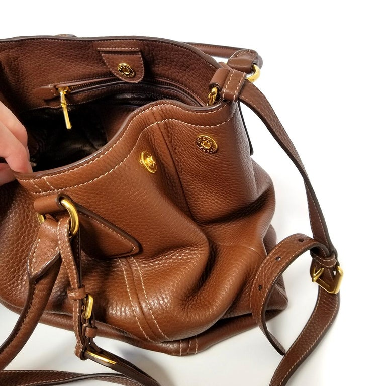 Prada Vitello Daino Brown Solid Satchel Handbag For Sale 2