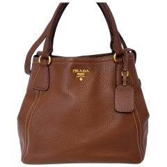 Prada Vitello Daino Brown Solid Satchel Handbag