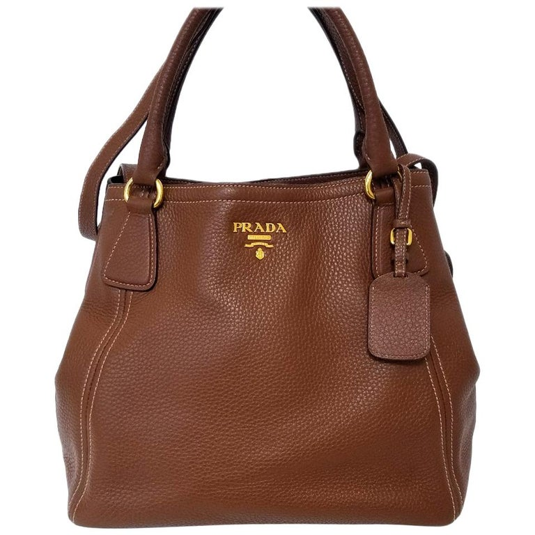 Prada Vitello Daino Brown Solid Satchel Handbag For Sale