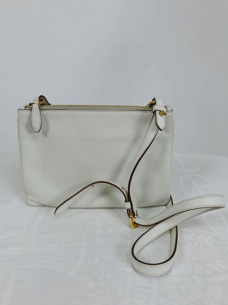 Gray Prada Vitello Daino Double Compartment Leather Crossbody Bag For Sale