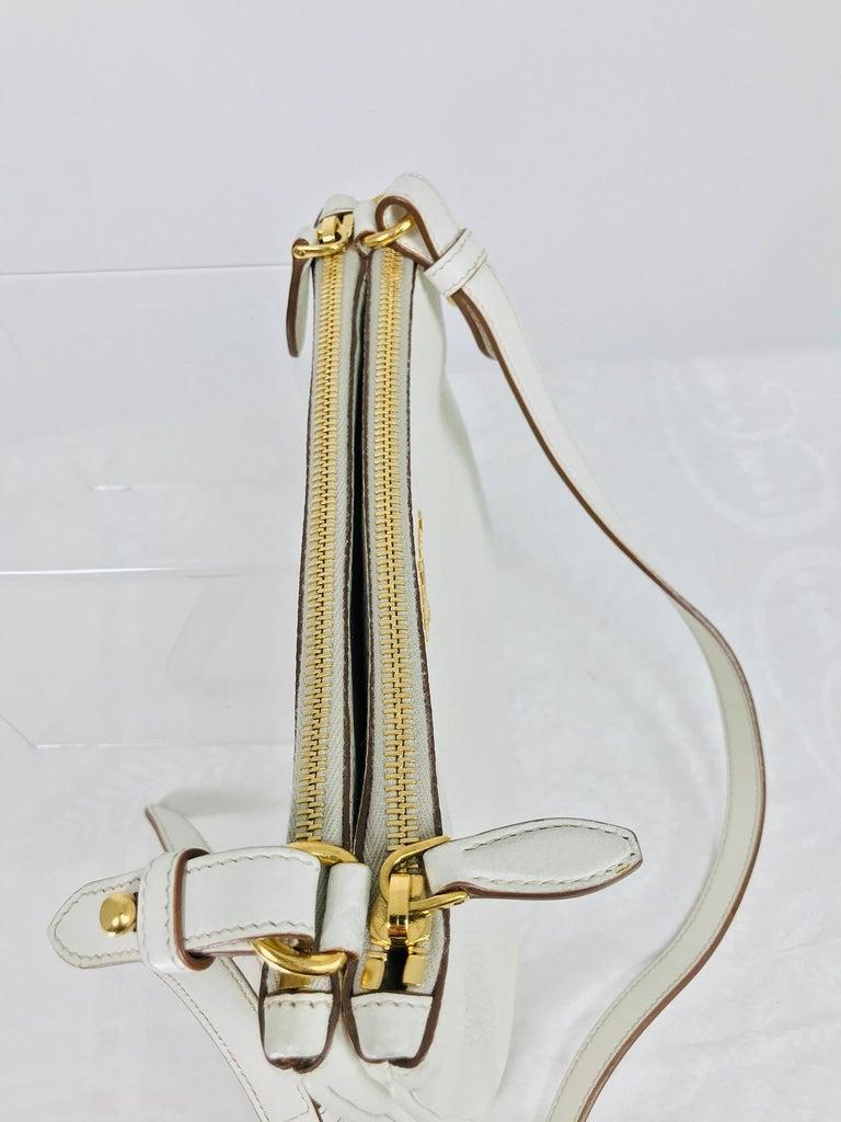 Prada Vitello Daino Double Compartment Leather Crossbody Bag For Sale 2