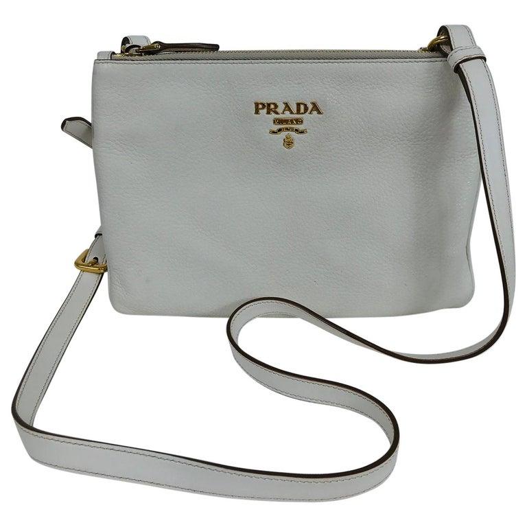 Prada Vitello Daino Double Compartment Leather Crossbody Bag For Sale