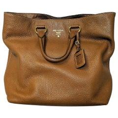 Prada Vitello Daino Gold Detail Shopping Tote Bag BN1713