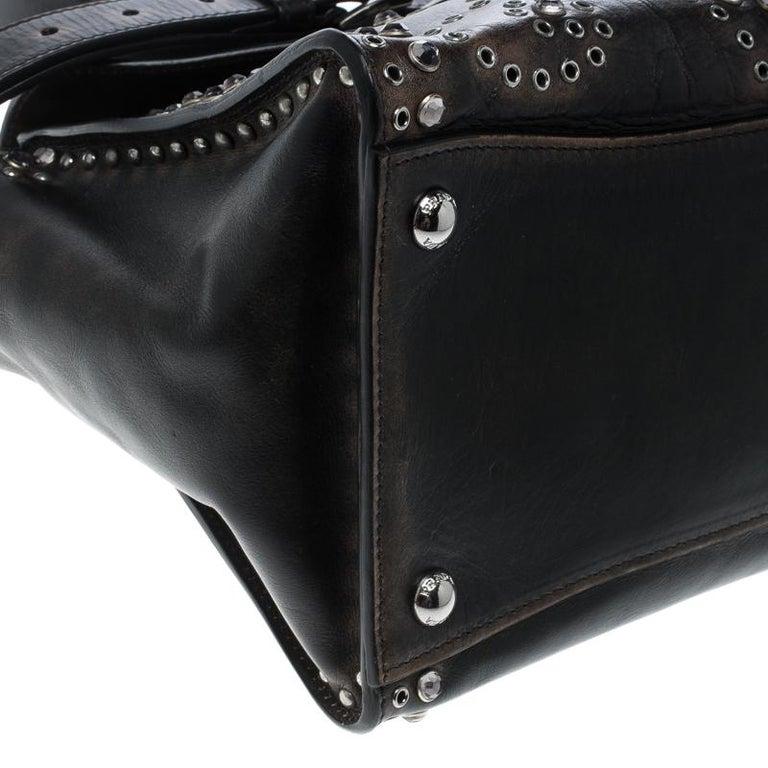 Prada Vitello Vintage Leather Eyelet Crystal Embellished Top Handle Bag For Sale 4