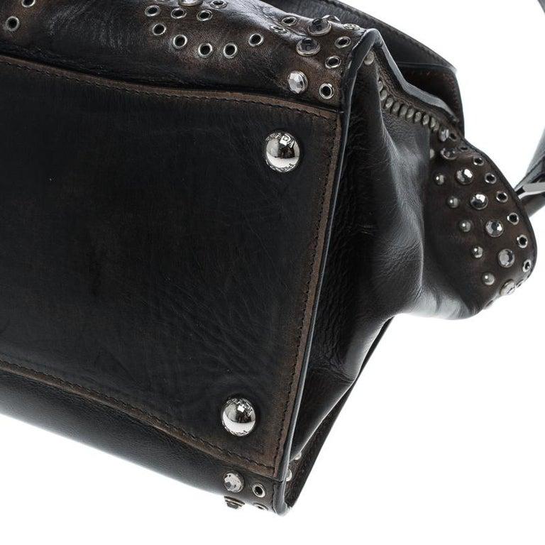 Prada Vitello Vintage Leather Eyelet Crystal Embellished Top Handle Bag For Sale 5