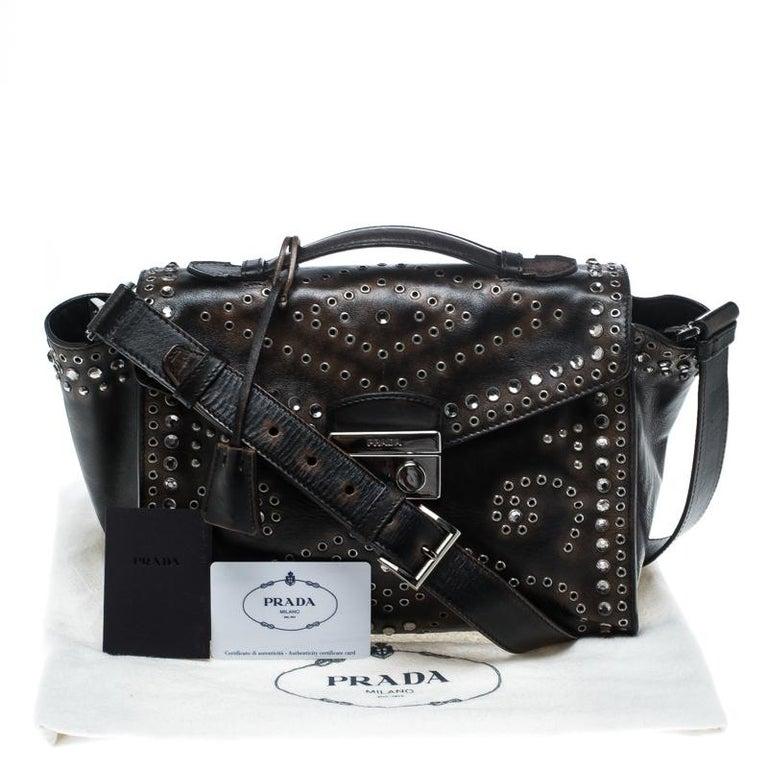 Prada Vitello Vintage Leather Eyelet Crystal Embellished Top Handle Bag For Sale 6
