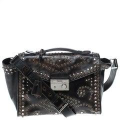 Prada Vitello Vintage Leather Eyelet Crystal Embellished Top Handle Bag