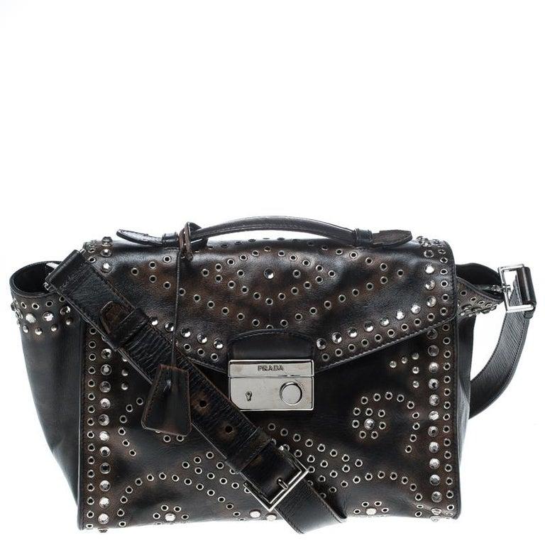 Prada Vitello Vintage Leather Eyelet Crystal Embellished Top Handle Bag For Sale