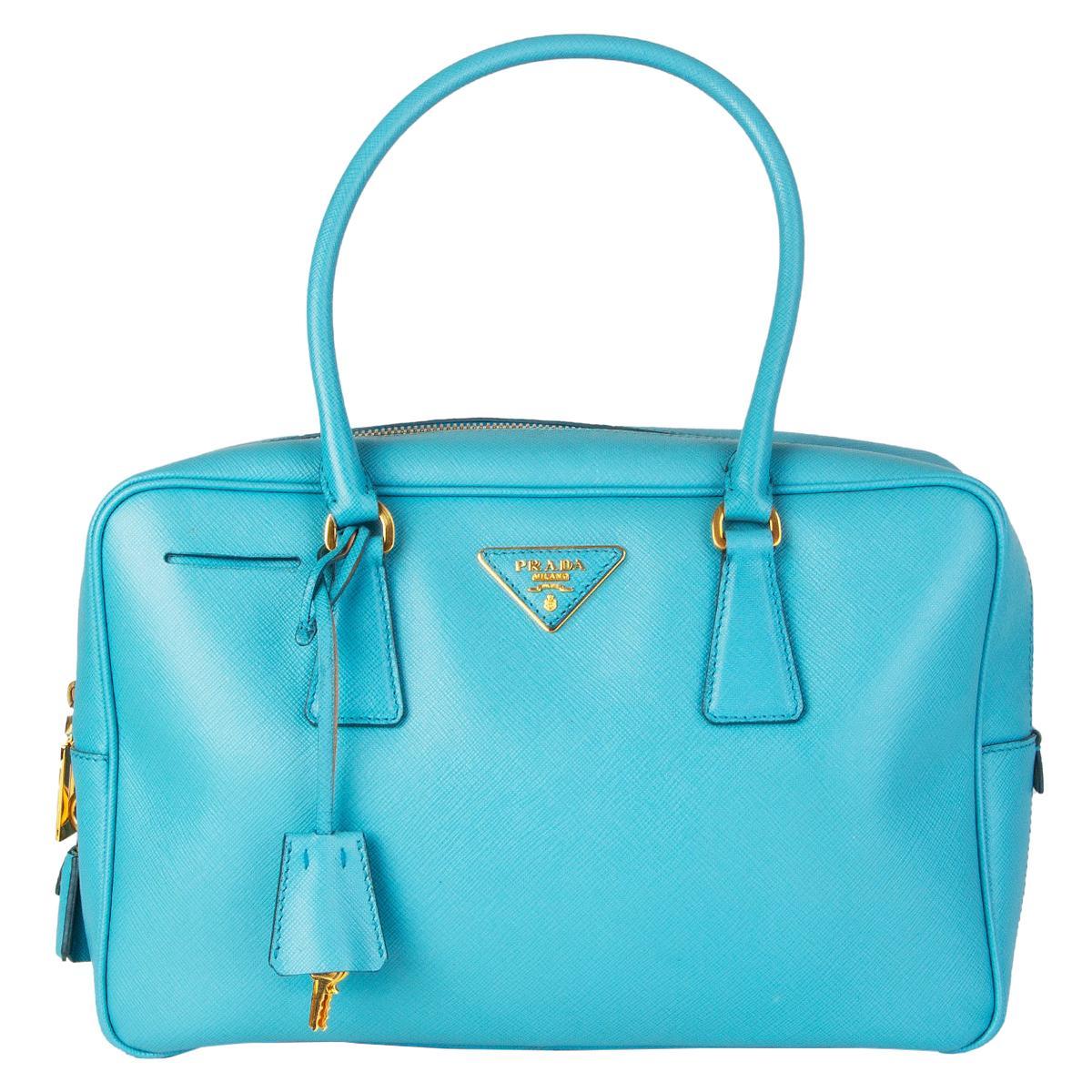 PRADA Voyage blue Suffiano Lux leather BL0095 SCARLATTO Shoulder Bag