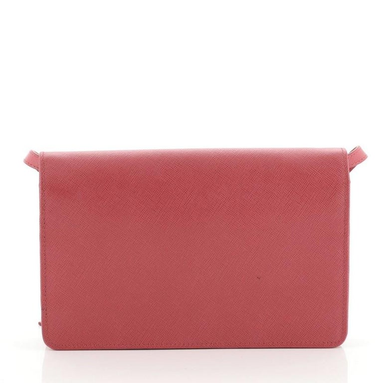 Pink Prada Wallet Crossbody Saffiano Leather For Sale
