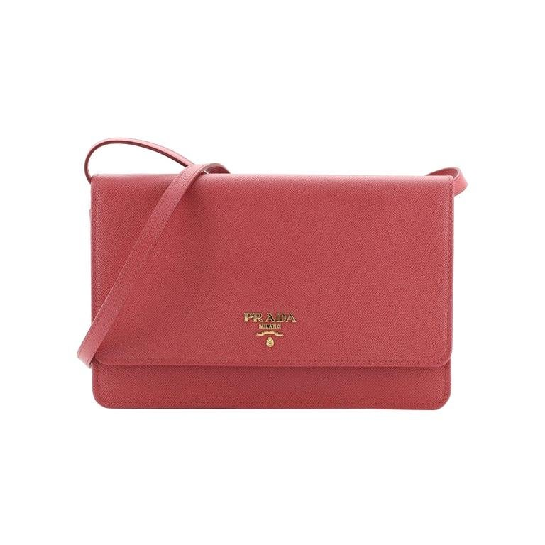 Prada Wallet Crossbody Saffiano Leather For Sale
