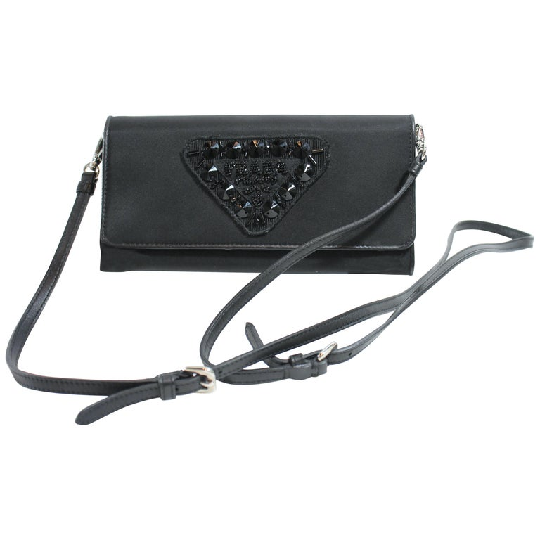 897a96cb0528 Prada Wallet On A Chain For Sale. Black satin.