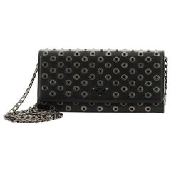 Prada Wallet on Chain Grommet Embellished Leather